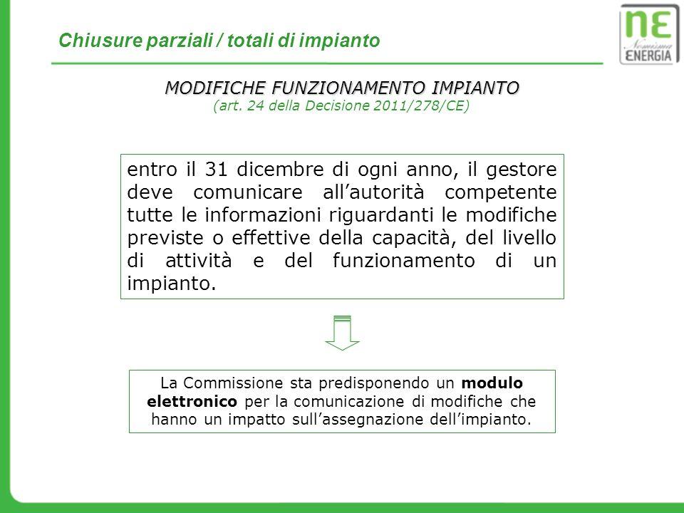 Chiusure parziali / totali di impianto MODIFICHE FUNZIONAMENTO IMPIANTO (art. 24 della Decisione 2011/278/CE) entro il 31 dicembre di ogni anno, il ge