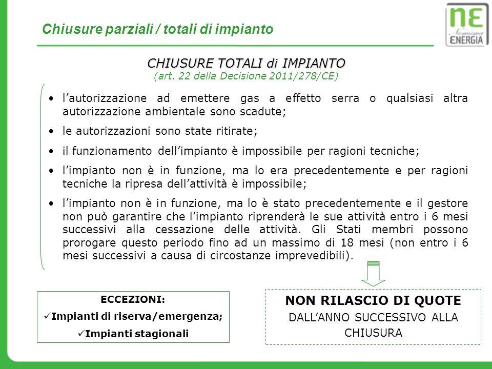 CHIUSURE TOTALI di IMPIANTO (art. 22 della Decisione 2011/278/CE) lautorizzazione ad emettere gas a effetto serra o qualsiasi altra autorizzazione amb