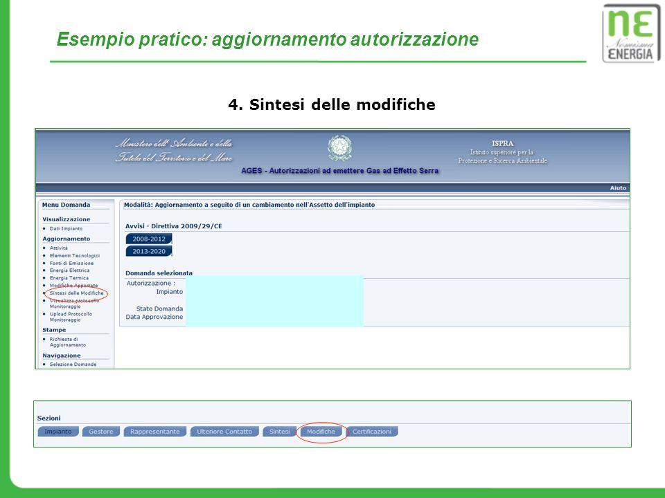 Esempio pratico: aggiornamento autorizzazione 4. Sintesi delle modifiche