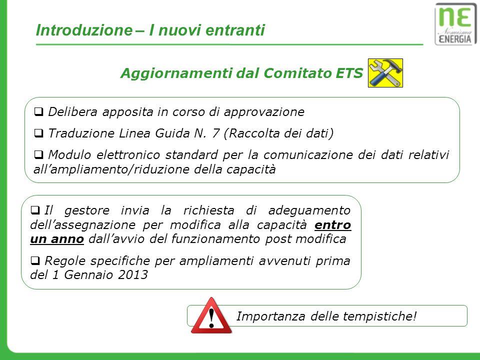 Introduzione – I nuovi entranti Aggiornamenti dal Comitato ETS Delibera apposita in corso di approvazione Traduzione Linea Guida N. 7 (Raccolta dei da