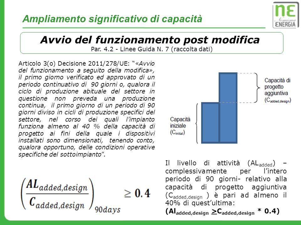 Ampliamento significativo di capacità Avvio del funzionamento post modifica Par. 4.2 - Linee Guida N. 7 (raccolta dati) Articolo 3(o) Decisione 2011/2