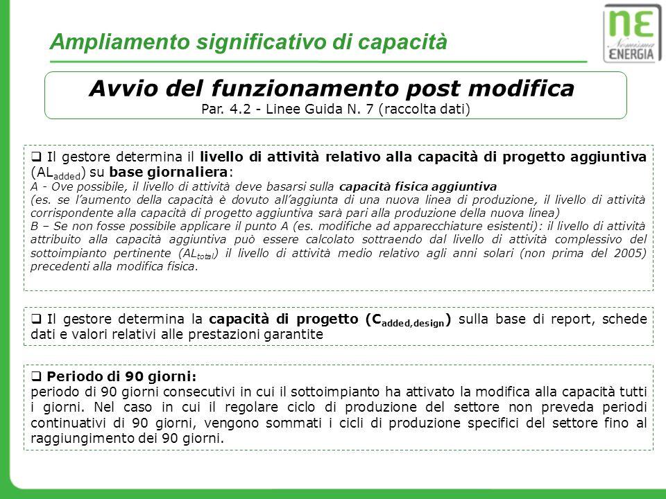 Ampliamento significativo di capacità Avvio del funzionamento post modifica Par. 4.2 - Linee Guida N. 7 (raccolta dati) Il gestore determina il livell