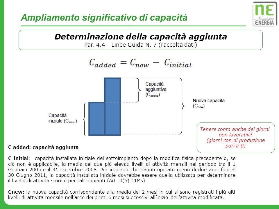 Ampliamento significativo di capacità Determinazione della capacità aggiunta Par. 4.4 - Linee Guida N. 7 (raccolta dati) C added: capacità aggiunta C