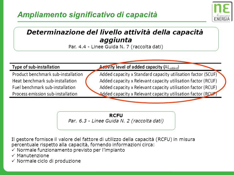 Ampliamento significativo di capacità Determinazione del livello attività della capacità aggiunta Par. 4.4 - Linee Guida N. 7 (raccolta dati) Il gesto