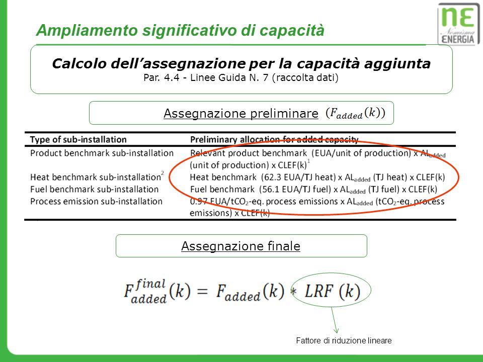 Ampliamento significativo di capacità Calcolo dellassegnazione per la capacità aggiunta Par. 4.4 - Linee Guida N. 7 (raccolta dati) Assegnazione preli