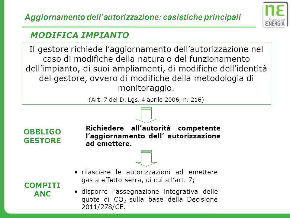Chiusure parziali / totali di impianto MODIFICHE FUNZIONAMENTO IMPIANTO (art.