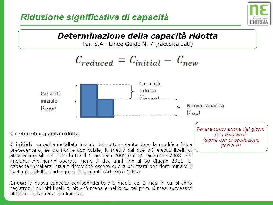 Determinazione della capacità ridotta Par. 5.4 - Linee Guida N. 7 (raccolta dati) C reduced: capacità ridotta C initial: capacità installata iniziale