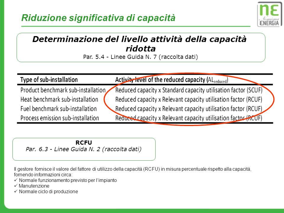 Riduzione significativa di capacità Determinazione del livello attività della capacità ridotta Par. 5.4 - Linee Guida N. 7 (raccolta dati) Il gestore