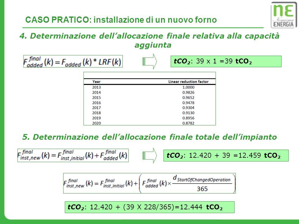 4. Determinazione dellallocazione finale relativa alla capacità aggiunta 5. Determinazione dellallocazione finale totale dellimpianto tCO 2 : 39 x 1 =