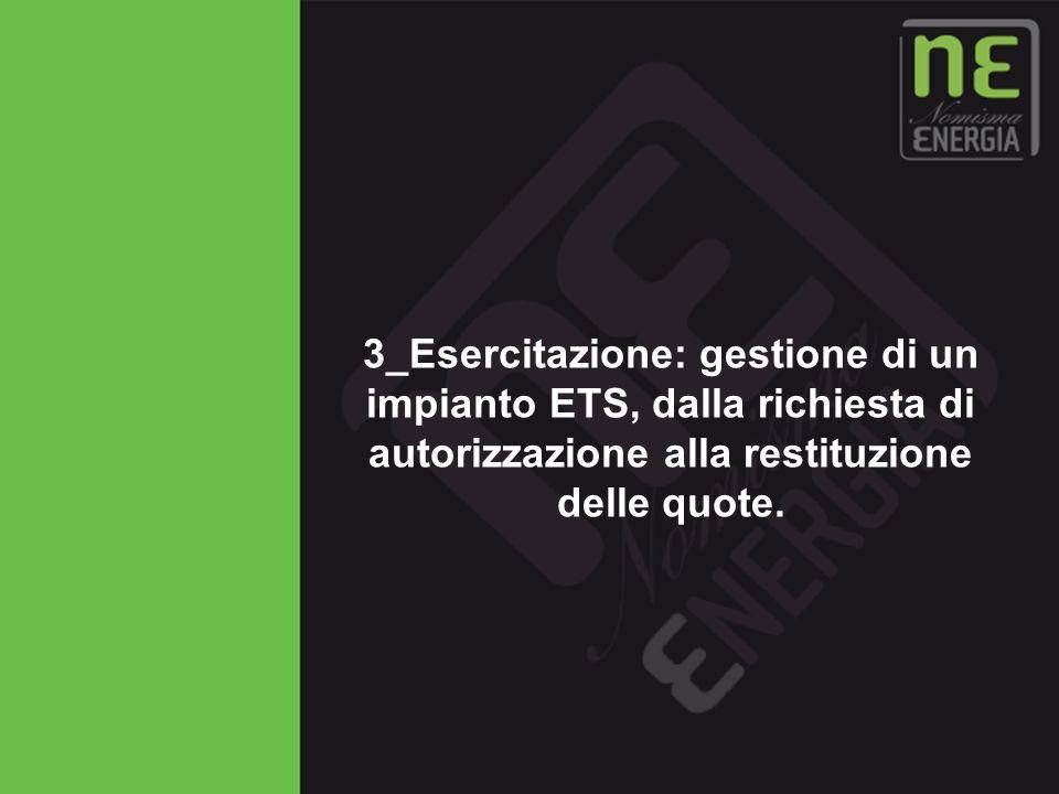 Novembre 2009 61 3_Esercitazione: gestione di un impianto ETS, dalla richiesta di autorizzazione alla restituzione delle quote.