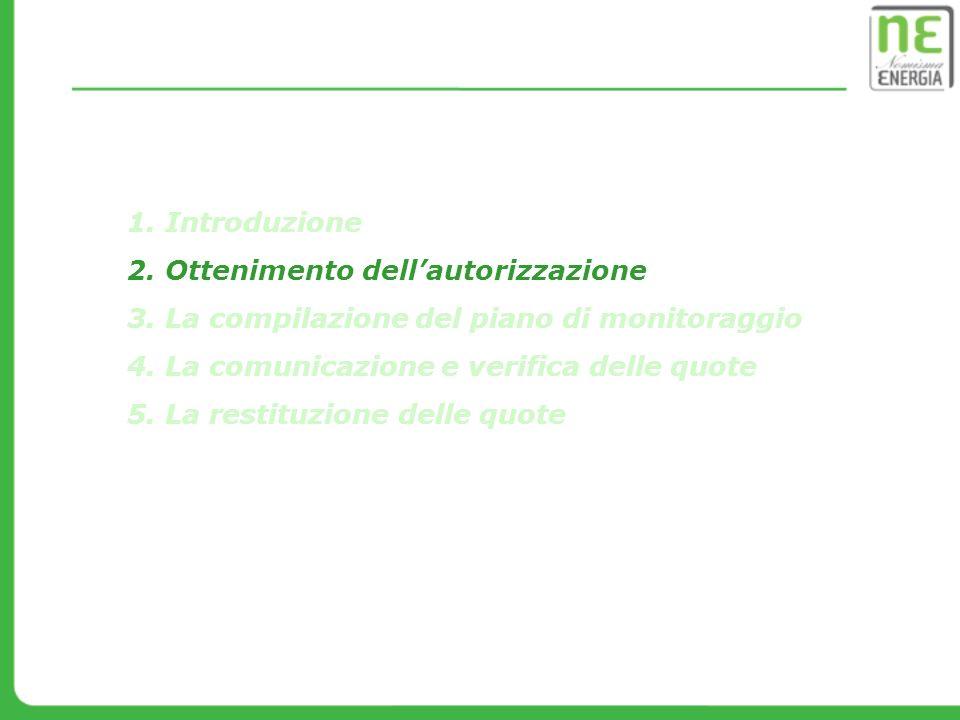 1. Introduzione 2. Ottenimento dellautorizzazione 3. La compilazione del piano di monitoraggio 4. La comunicazione e verifica delle quote 5. La restit
