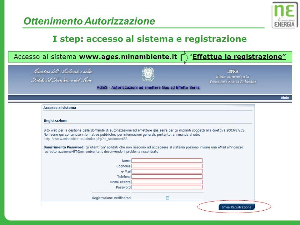 Ottenimento Autorizzazione I step: accesso al sistema e registrazione Accesso al sistema www.ages.minambiente.it Effettua la registrazione