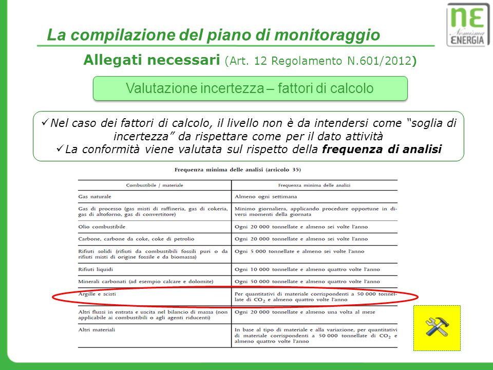 La compilazione del piano di monitoraggio Allegati necessari (Art. 12 Regolamento N.601/2012) Valutazione incertezza – fattori di calcolo Nel caso dei