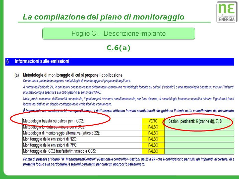 La compilazione del piano di monitoraggio Foglio C – Descrizione impianto C.6(a)