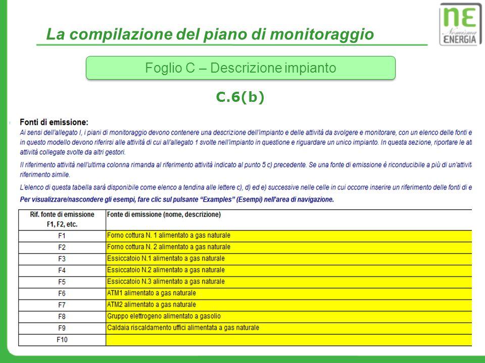 La compilazione del piano di monitoraggio Foglio C – Descrizione impianto C.6(b)