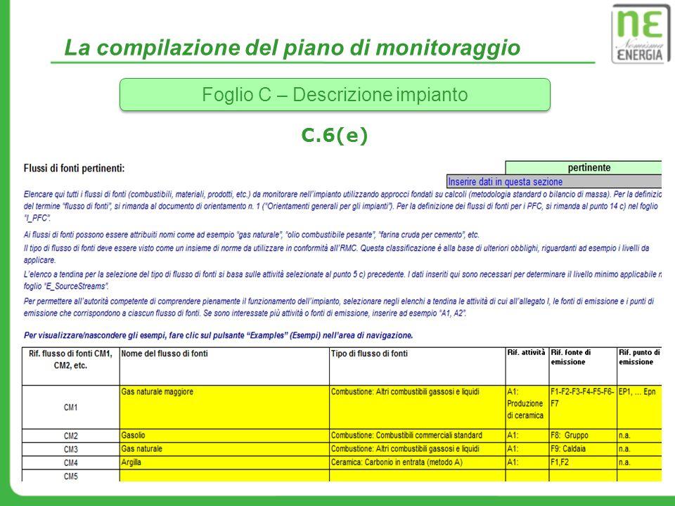 La compilazione del piano di monitoraggio Foglio C – Descrizione impianto C.6(e)