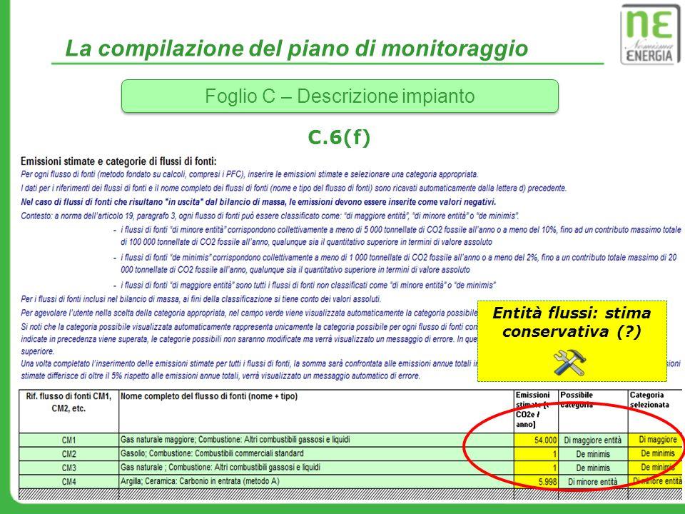 La compilazione del piano di monitoraggio Foglio C – Descrizione impianto C.6(f) Entità flussi: stima conservativa (?)