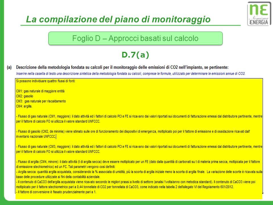 La compilazione del piano di monitoraggio Foglio D – Approcci basati sul calcolo D.7(a)