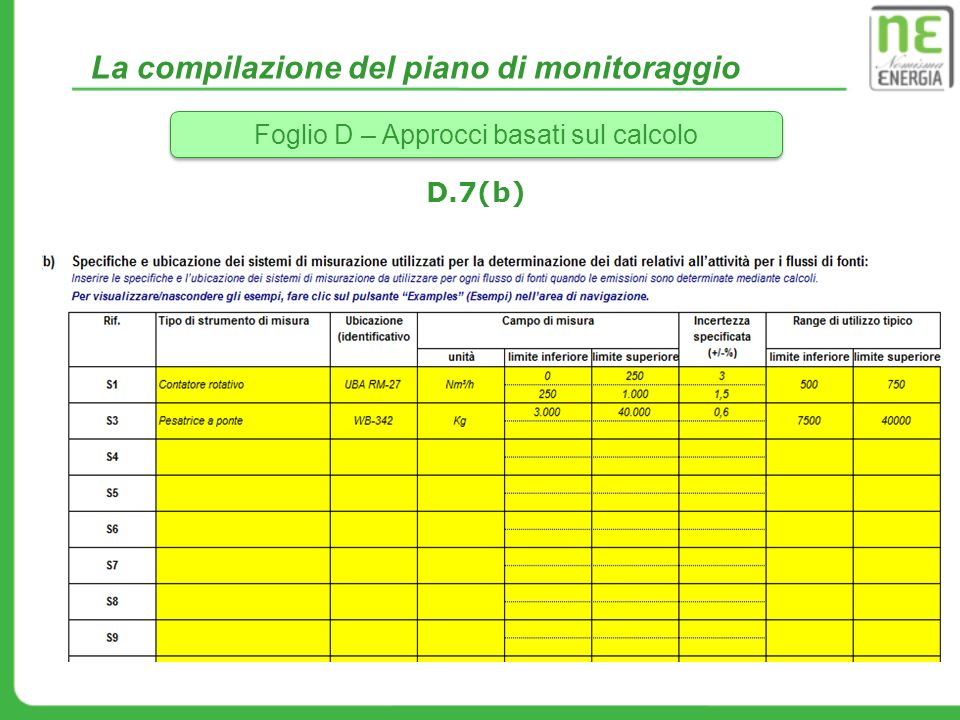 La compilazione del piano di monitoraggio Foglio D – Approcci basati sul calcolo D.7(b)