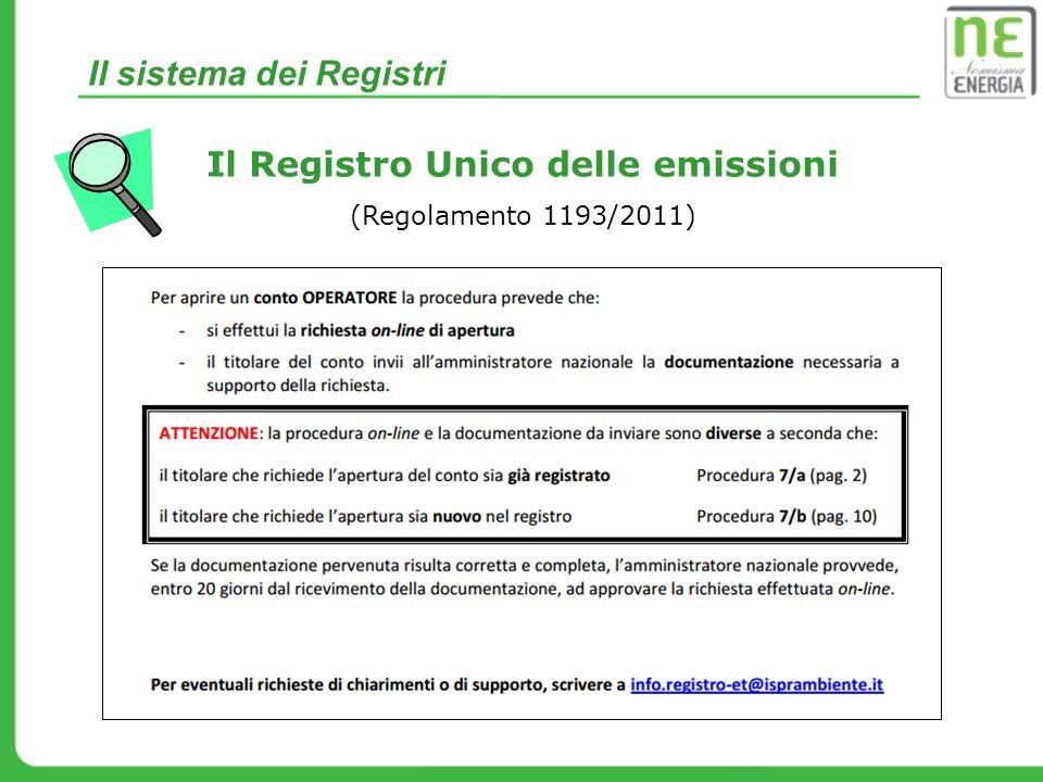Il sistema dei Registri Il Registro Unico delle emissioni (Regolamento 1193/2011)