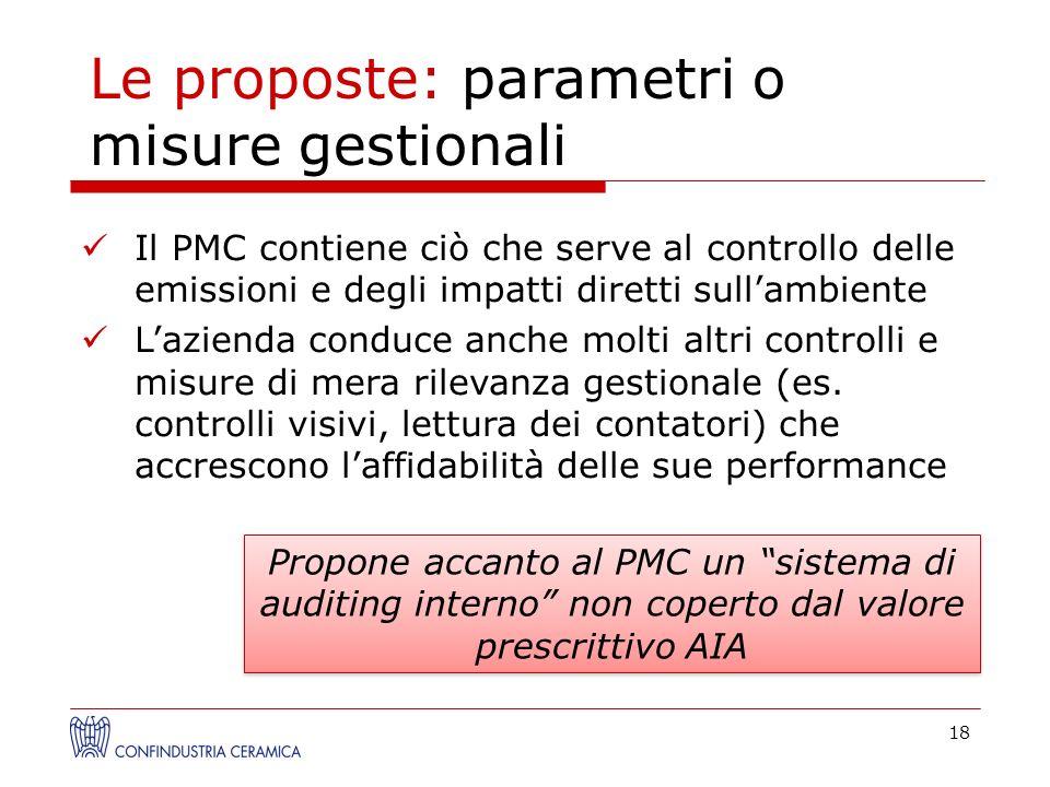 18 Le proposte: parametri o misure gestionali Propone accanto al PMC un sistema di auditing interno non coperto dal valore prescrittivo AIA Il PMC con