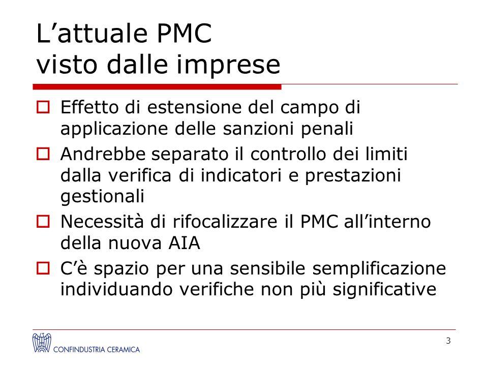 Lattuale PMC visto dalle imprese Effetto di estensione del campo di applicazione delle sanzioni penali Andrebbe separato il controllo dei limiti dalla