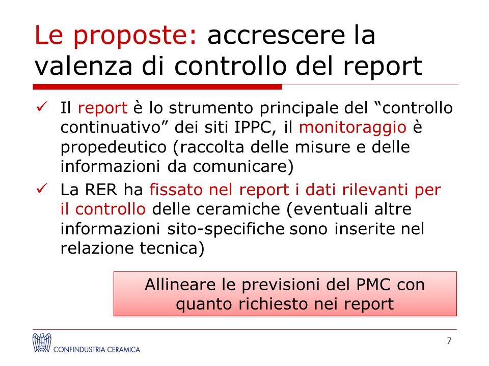 Le proposte: accrescere la valenza di controllo del report Il report è lo strumento principale del controllo continuativo dei siti IPPC, il monitoragg