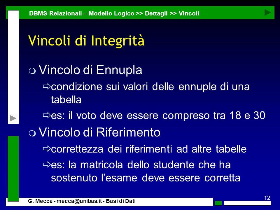 12 G. Mecca - mecca@unibas.it - Basi di Dati Vincoli di Integrità m Vincolo di Ennupla condizione sui valori delle ennuple di una tabella es: il voto
