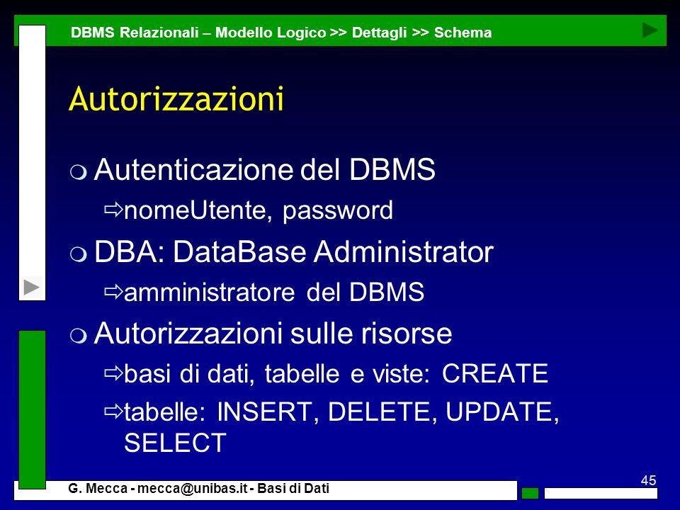 45 G. Mecca - mecca@unibas.it - Basi di Dati Autorizzazioni m Autenticazione del DBMS nomeUtente, password m DBA: DataBase Administrator amministrator