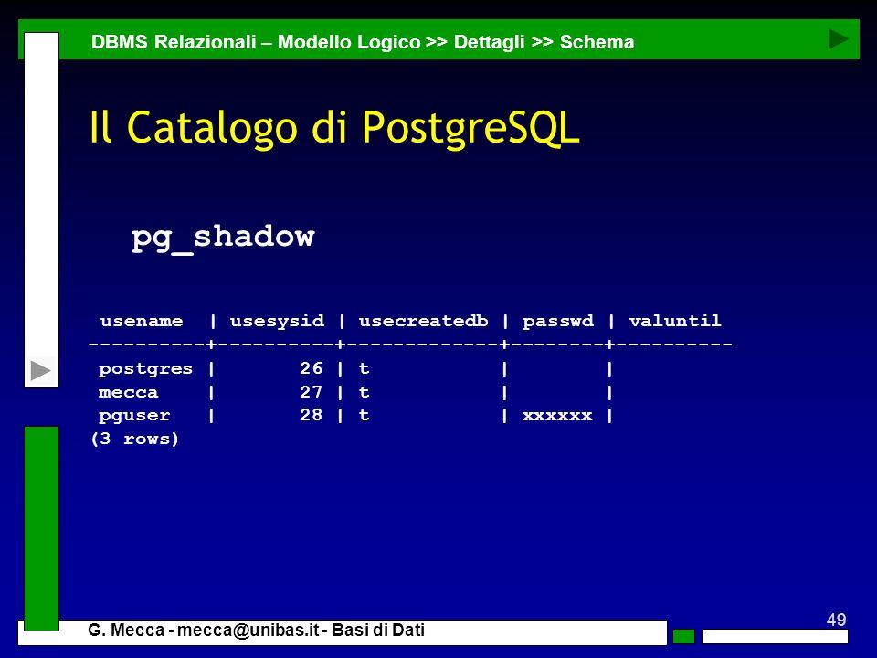 49 G. Mecca - mecca@unibas.it - Basi di Dati Il Catalogo di PostgreSQL pg_shadow usename | usesysid | usecreatedb | passwd | valuntil ----------+-----