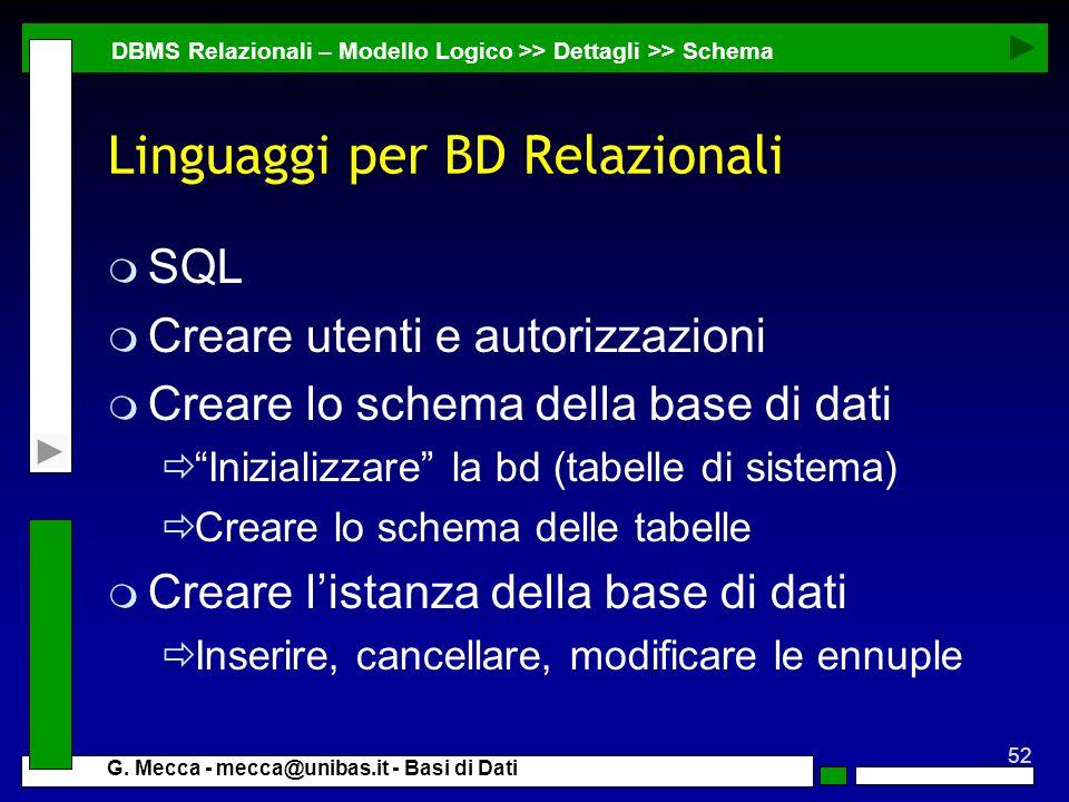 52 G. Mecca - mecca@unibas.it - Basi di Dati Linguaggi per BD Relazionali m SQL m Creare utenti e autorizzazioni m Creare lo schema della base di dati