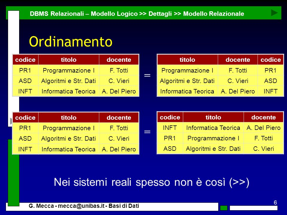6 G. Mecca - mecca@unibas.it - Basi di Dati Ordinamento DBMS Relazionali – Modello Logico >> Dettagli >> Modello Relazionale Nei sistemi reali spesso