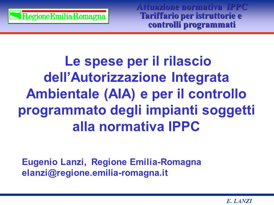 Attuazione normativa IPPC Tariffario per istruttorie e controlli programmati E.