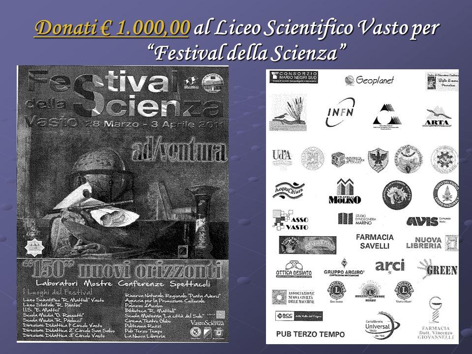 Donati 1.000,00 al Liceo Scientifico Vasto per Festival della Scienza