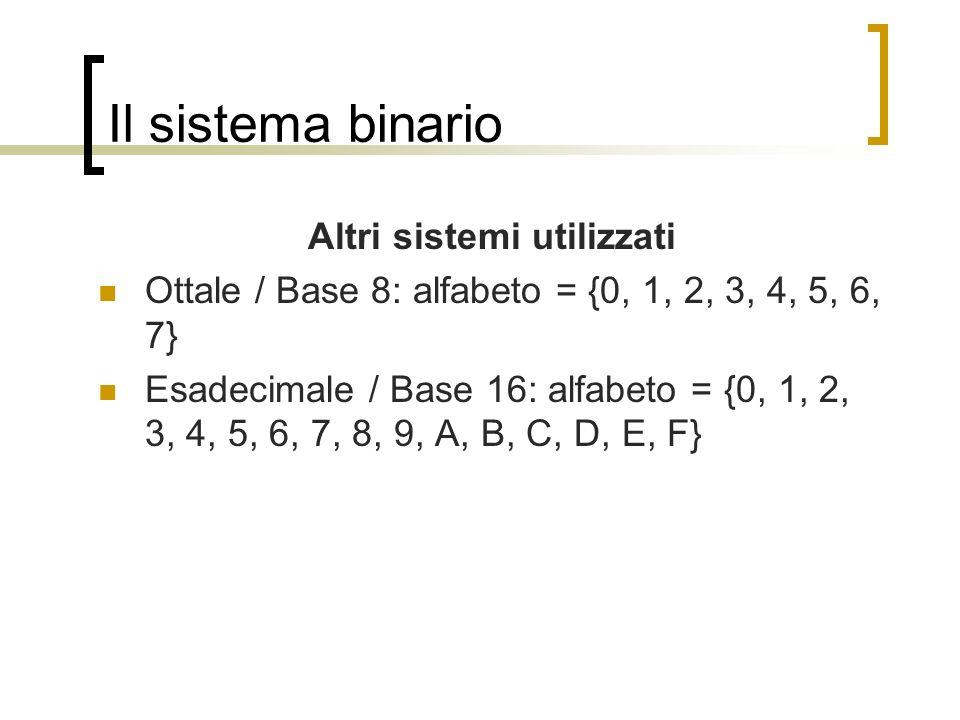 Il sistema binario Altri sistemi utilizzati Ottale / Base 8: alfabeto = {0, 1, 2, 3, 4, 5, 6, 7} Esadecimale / Base 16: alfabeto = {0, 1, 2, 3, 4, 5,