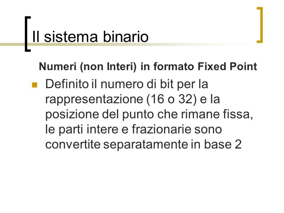 Il sistema binario Numeri (non Interi) in formato Fixed Point Definito il numero di bit per la rappresentazione (16 o 32) e la posizione del punto che