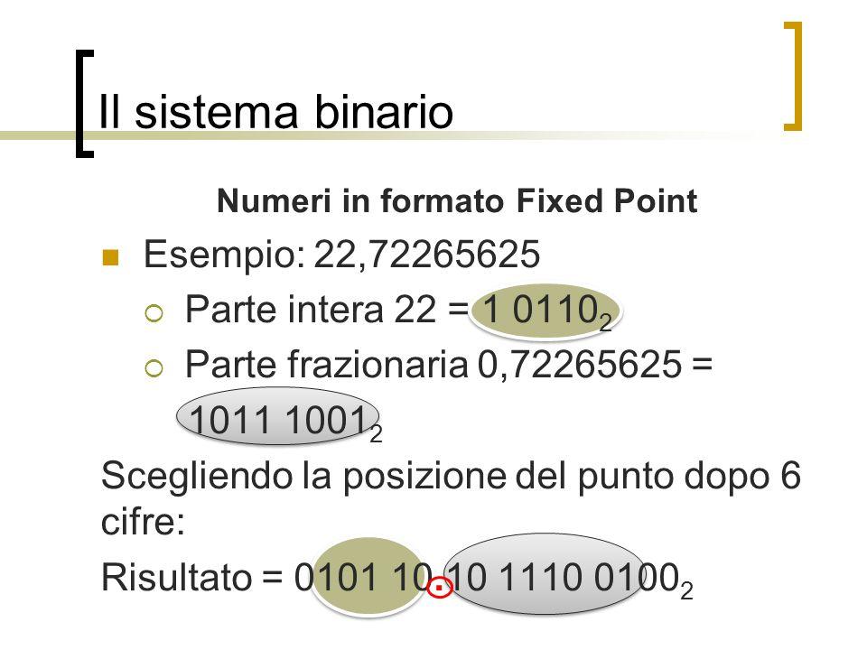 Il sistema binario Numeri in formato Fixed Point Esempio: 22,72265625 Parte intera 22 = 1 0110 2 Parte frazionaria 0,72265625 = 1011 1001 2 Scegliendo