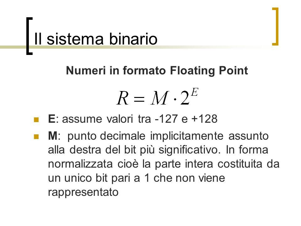 Il sistema binario Numeri in formato Floating Point E: assume valori tra -127 e +128 M: punto decimale implicitamente assunto alla destra del bit più