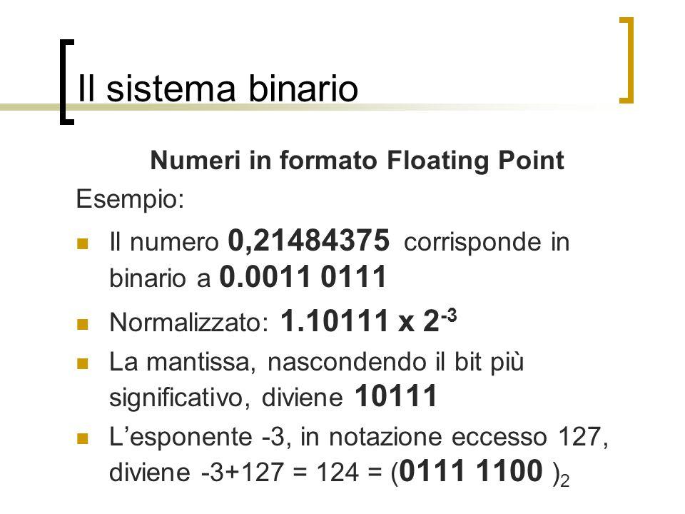 Il sistema binario Numeri in formato Floating Point Esempio: Il numero 0,21484375 corrisponde in binario a 0.0011 0111 Normalizzato: 1.10111 x 2 -3 La