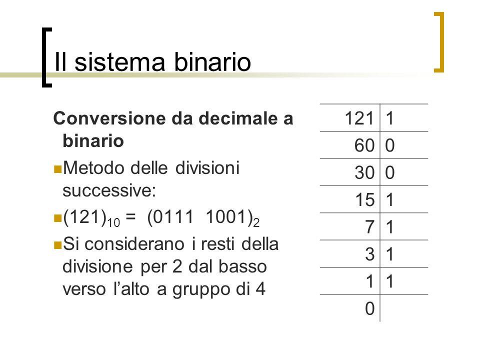 Il sistema binario Conversione da decimale a binario Metodo delle divisioni successive: (121) 10 = (0111 1001) 2 Si considerano i resti della division