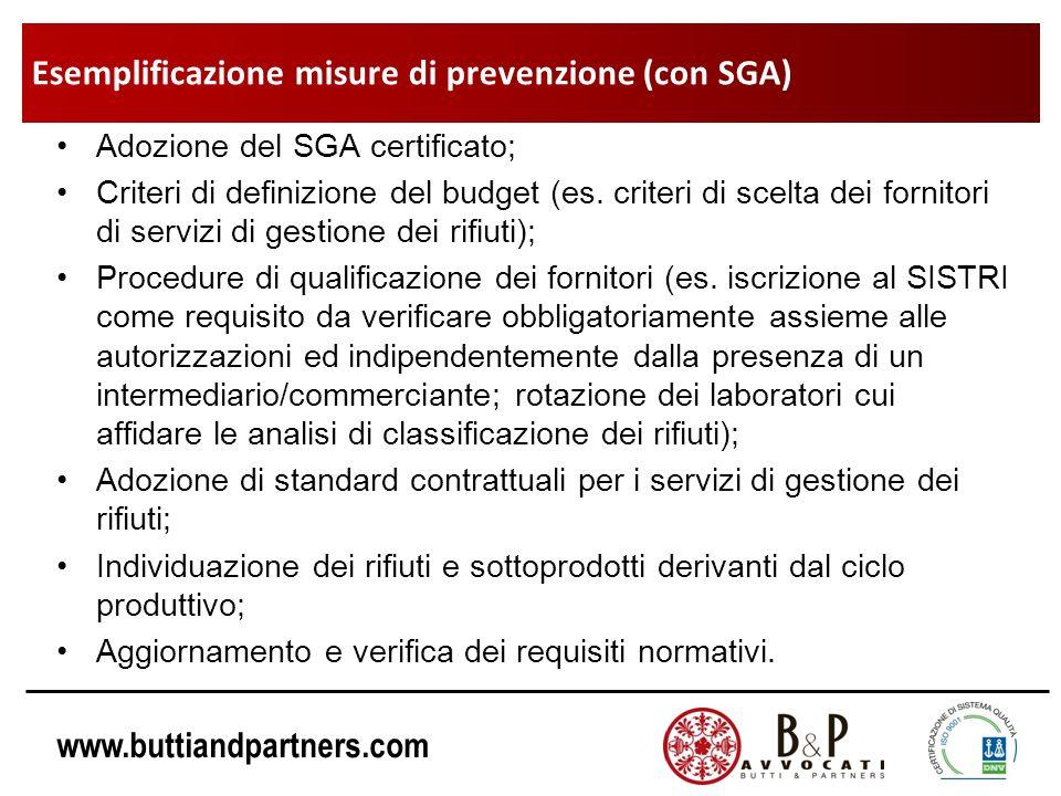 www.buttiandpartners.com Adozione del SGA certificato; Criteri di definizione del budget (es. criteri di scelta dei fornitori di servizi di gestione d