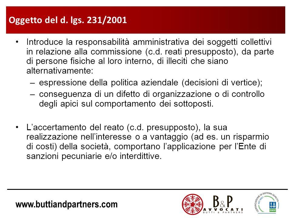 www.buttiandpartners.com Il Modello 231 è lo strumento con la quale la società può dimostrare che lillecito si è verificato a causa della violazione, da parte della persona fisica, delle norme interne stabilite ed è stato, quindi, commesso contro la volontà sociale.
