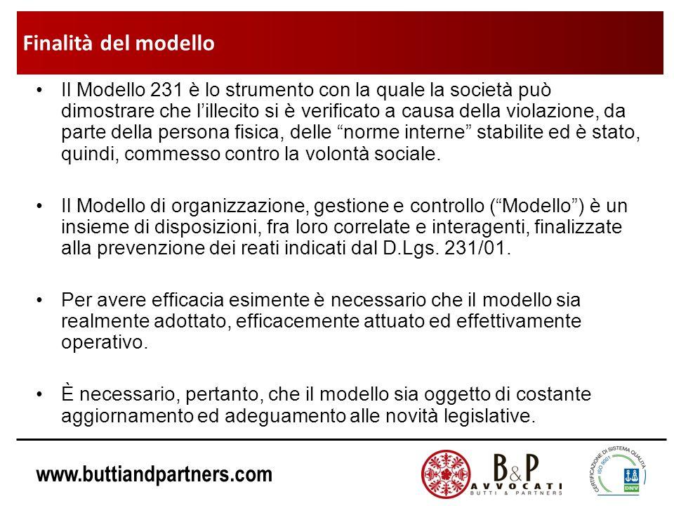 www.buttiandpartners.com Il Modello 231 è lo strumento con la quale la società può dimostrare che lillecito si è verificato a causa della violazione,