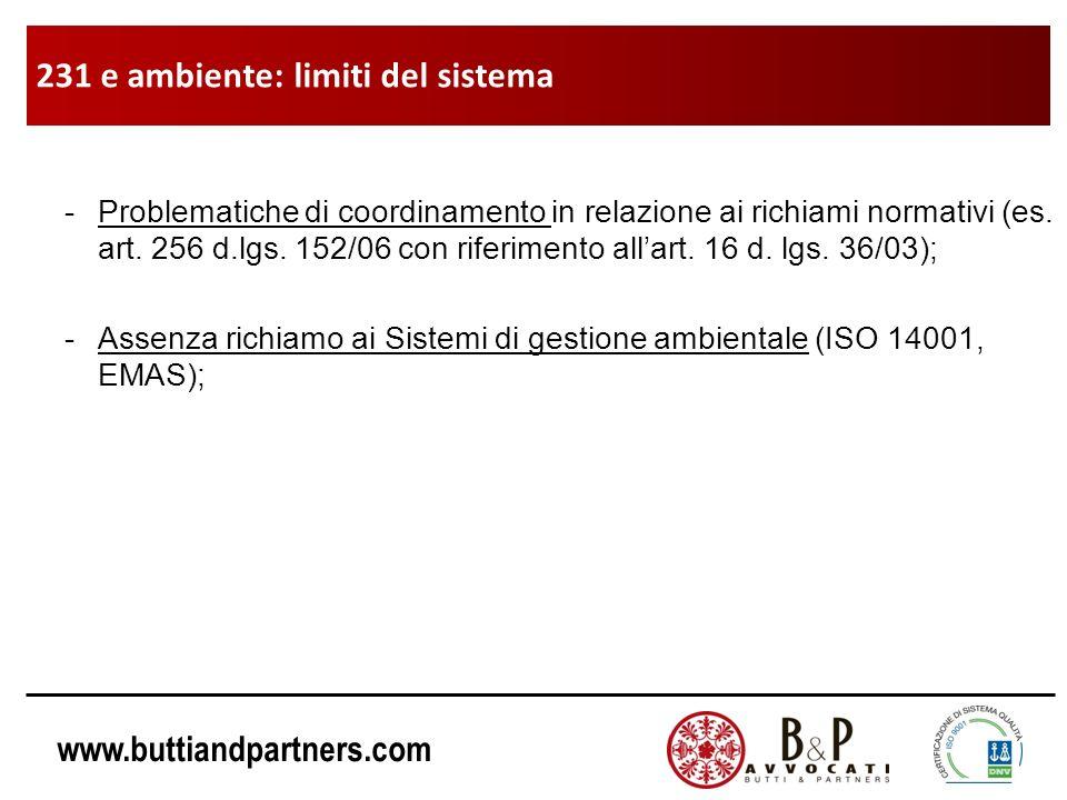 www.buttiandpartners.com -Problematiche di coordinamento in relazione ai richiami normativi (es. art. 256 d.lgs. 152/06 con riferimento allart. 16 d.
