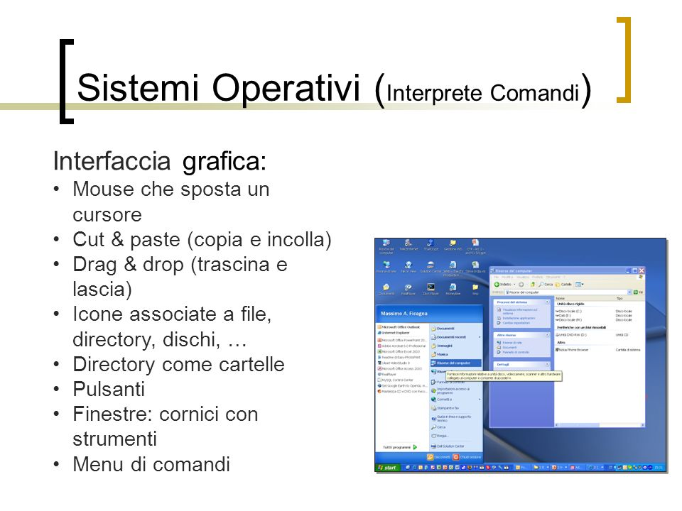 Sistemi Operativi ( Interprete Comandi ) Interfaccia grafica: Mouse che sposta un cursore Cut & paste (copia e incolla) Drag & drop (trascina e lascia