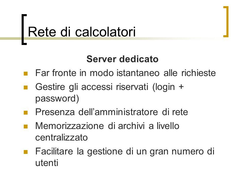 Rete di calcolatori Server dedicato Far fronte in modo istantaneo alle richieste Gestire gli accessi riservati (login + password) Presenza dellamminis