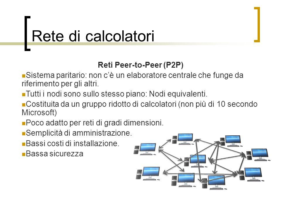 Rete di calcolatori Reti Peer-to-Peer (P2P) Sistema paritario: non cè un elaboratore centrale che funge da riferimento per gli altri. Tutti i nodi son