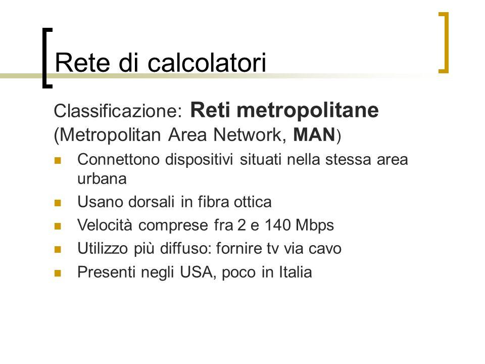 Rete di calcolatori Classificazione: Reti metropolitane (Metropolitan Area Network, MAN ) Connettono dispositivi situati nella stessa area urbana Usan