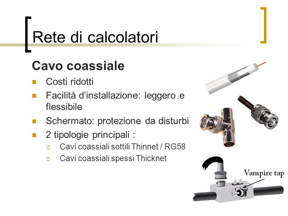 Rete di calcolatori Cavo coassiale Costi ridotti Facilità dinstallazione: leggero e flessibile Schermato: protezione da disturbi 2 tipologie principal