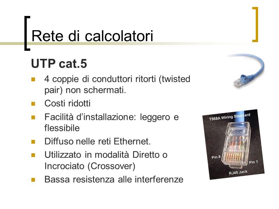 Rete di calcolatori UTP cat.5 4 coppie di conduttori ritorti (twisted pair) non schermati. Costi ridotti Facilità dinstallazione: leggero e flessibile